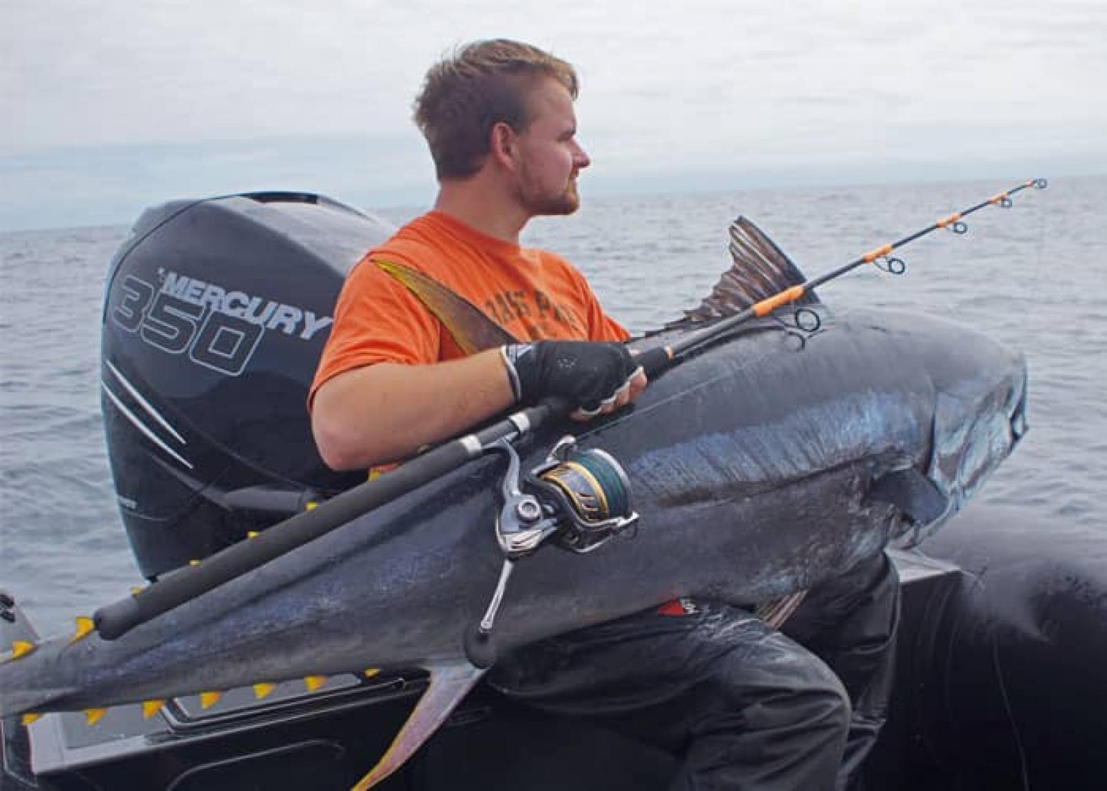 peche d'un thon rouge sur bateau en spinning